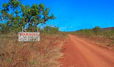 A warning that there is No fuel for the next 360km sign rather near to Roper Bar heading to Borroloola or Cape Crawford